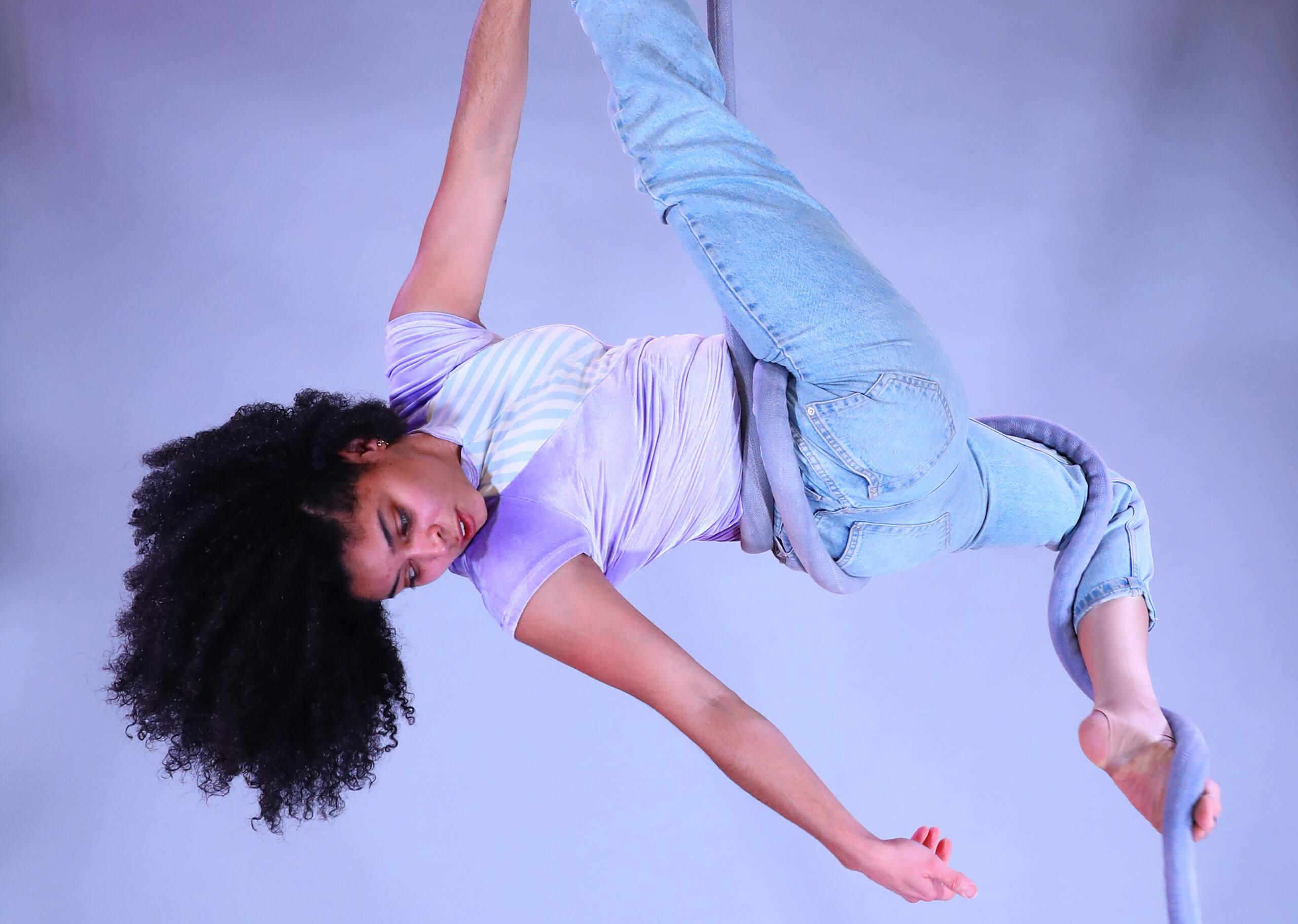 Child on aerial silks